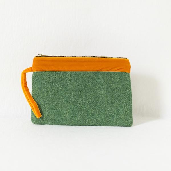 Katherine Emtage leaf green Harris tweed large pochette with tangerine trim front