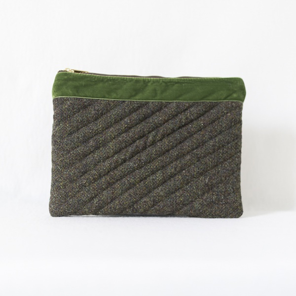 Katherine Emtage moss brown Harris Tweed iPad clutch bag front2