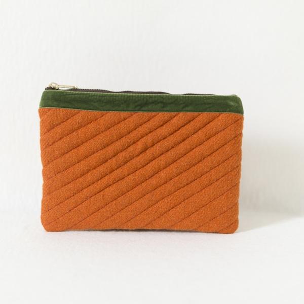 Katherine Emtage tangerine Harris Tweed mini iPad clutch bag front