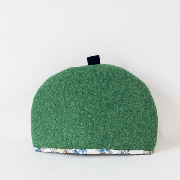 Katherine Emtage large tea cosy leaf green Harris Tweed front