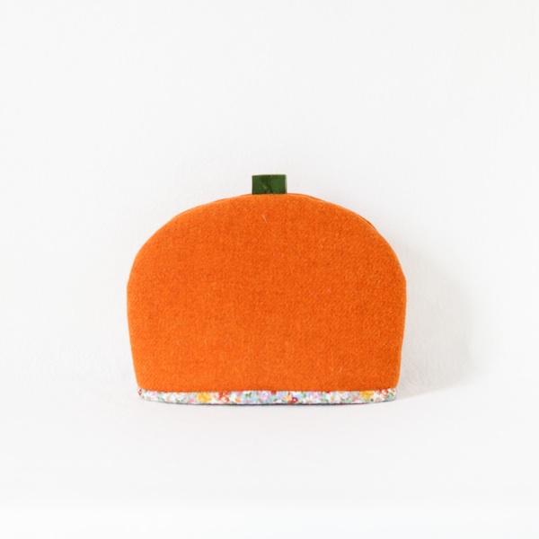 Katherine Emtage tangerine Harris Tweed tea cosy